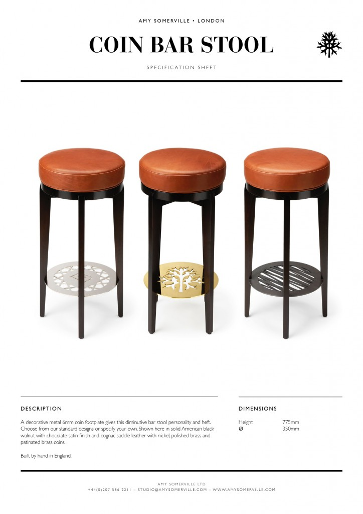 Coin Bar Stool Amy Somerville London Luxury Furniture