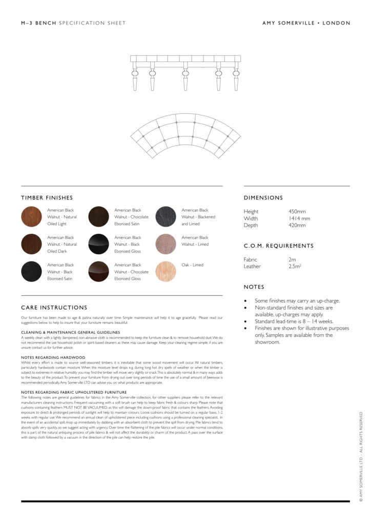 M3 Bench Specification Sheet 2 Amy Somerville London