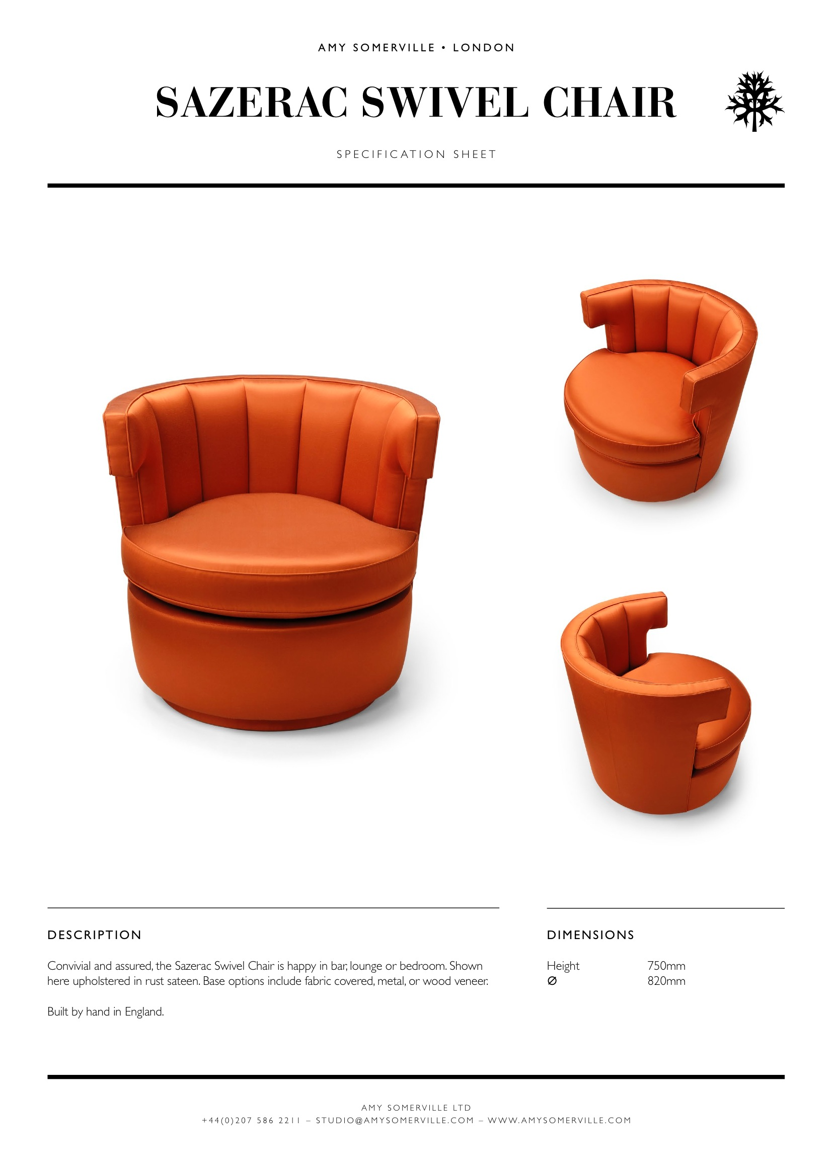 Sazerac Swivel Chair Specification Sheet